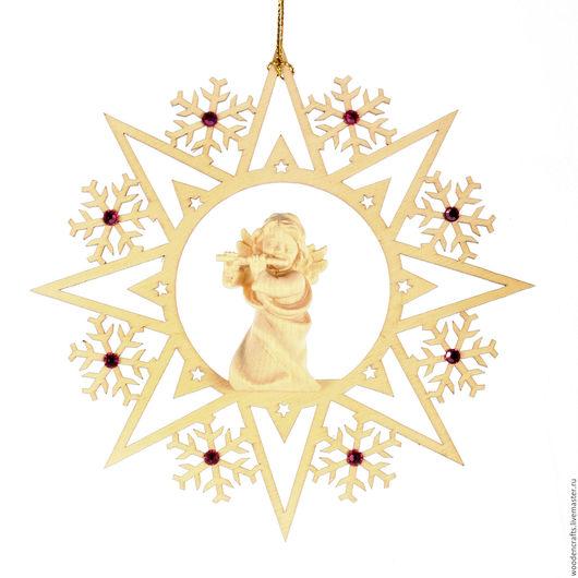 """Новый год 2017 ручной работы. Ярмарка Мастеров - ручная работа. Купить Елочная игрушка """"Снежинка с ангелом"""" со стразами Сваровски. Handmade."""