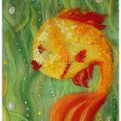 """Картины и панно ручной работы. Ярмарка Мастеров - ручная работа Картина """"Золотая рыбка"""" (исполняет желания:)). Handmade."""
