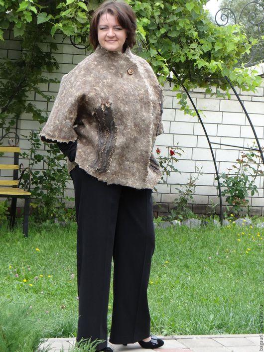 Верхняя одежда ручной работы. Ярмарка Мастеров - ручная работа. Купить Валяная куртка-жакет.. Handmade. Коричневый