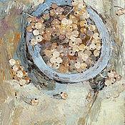 Картины и панно handmade. Livemaster - original item Still life on canvas Currant (blue, sand, berries). Handmade.