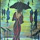 """Люди, ручной работы. Заказать Картина из шерсти """"Она уходила в дождь"""" по картине Лоррэйн Кристи.. Светлана Желяева. Картины из шерсти. Ярмарка Мастеров."""
