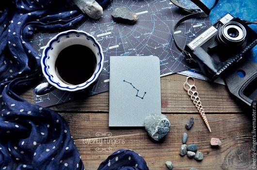 """Блокноты ручной работы. Ярмарка Мастеров - ручная работа. Купить Тетрадь """"Ночь"""" Gray А6. Handmade. Серый, Созвездия, бумага"""