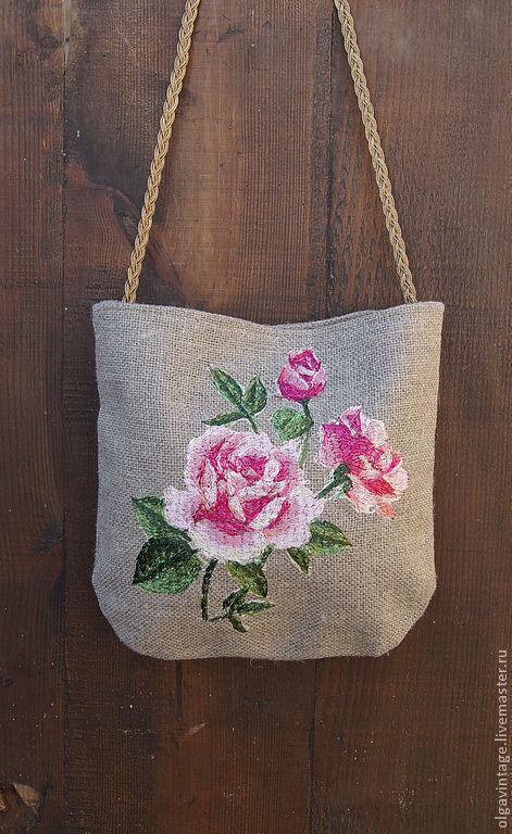 Женские сумки ручной работы. Ярмарка Мастеров - ручная работа. Купить Сумочка из льняной рогожки с вышивкой Розовый куст. Handmade.