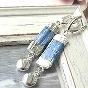 Украшения ручной работы. Ярмарка Мастеров - ручная работа Серьги синий кианит серебро натуральные камни длинные серьги. Handmade.