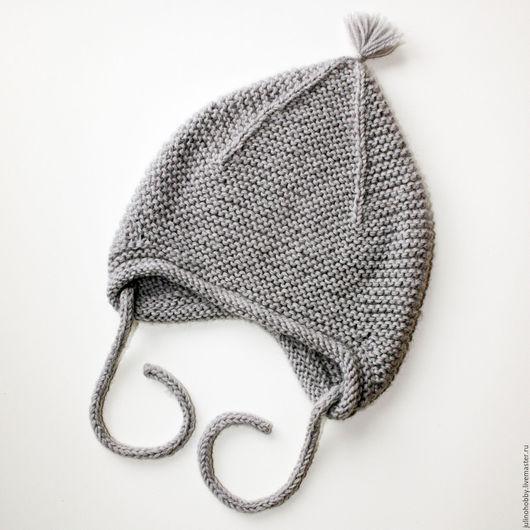 Шапки и шарфы ручной работы. Ярмарка Мастеров - ручная работа. Купить Демисезонная шапочка из мериноса. Handmade. Серый, шапка вязаная