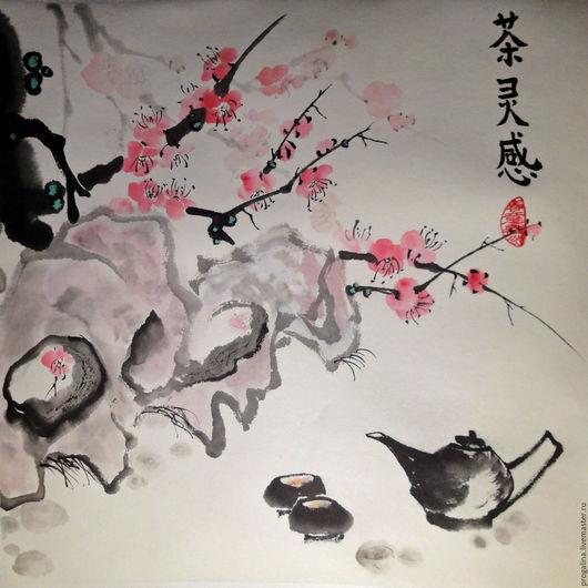 Картины цветов ручной работы. Ярмарка Мастеров - ручная работа. Купить Весеннее чаепитие. Handmade. Китайская живопись, цветущее дерево