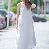 Одежда handmade. Livemaster - original item Summer sundress made of linen, gray - DR0236LE. Handmade.