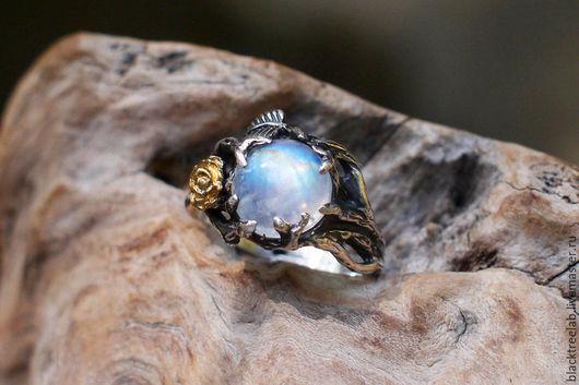 """Кольца ручной работы. Ярмарка Мастеров - ручная работа. Купить Серебряное кольцо с лунным камнем """"Клео"""". Handmade. помолвочное кольцо"""