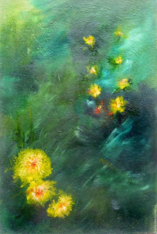 Картины цветов ручной работы. Ярмарка Мастеров - ручная работа. Купить Картина маслом Огоньки ( одуванчики,цветы). Handmade.