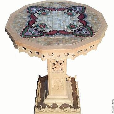 """Для дома и интерьера ручной работы. Ярмарка Мастеров - ручная работа Резной стол с мозаикой """"Надюша"""". Handmade."""