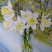 """Картины и панно ручной работы. Ярмарка Мастеров - ручная работа Картина маслом цветы нарциссы """"Нежность весны"""". Handmade."""