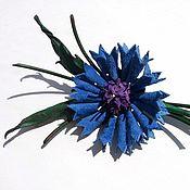 Украшения handmade. Livemaster - original item brooch made of leather cornflower. Handmade.