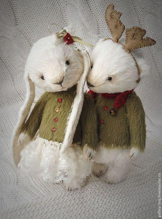 Мишки Тедди ручной работы. Ярмарка Мастеров - ручная работа. Купить Миша и Зайка новогодние. Handmade. Мишки тедди