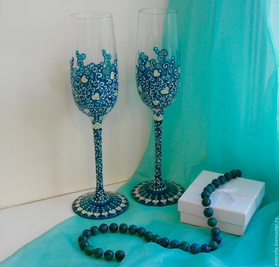 Wedding glasses 'Royal turquoise', Wedding glasses, Moscow,  Фото №1
