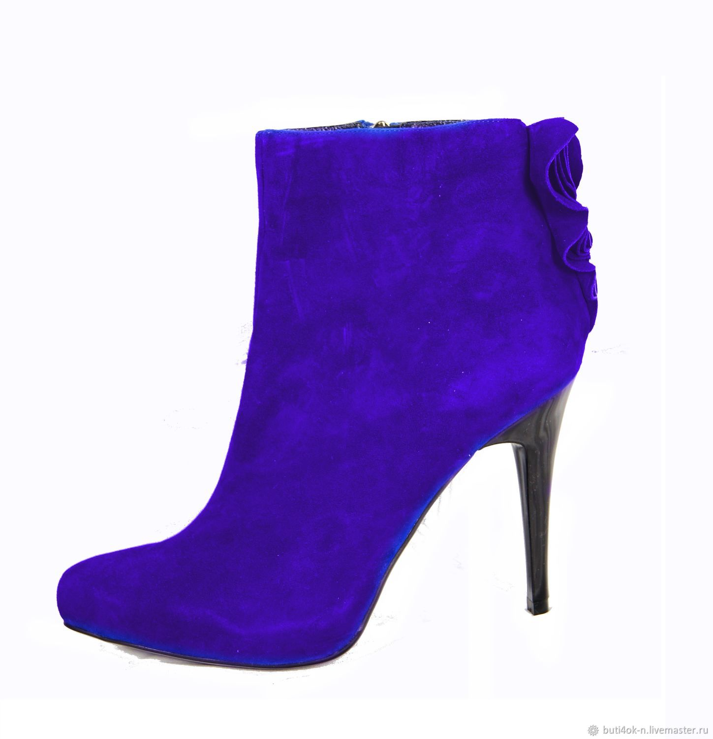 Bright blue velour ankle boots for autumn/spring, Ankle boots, Nelidovo,  Фото №1