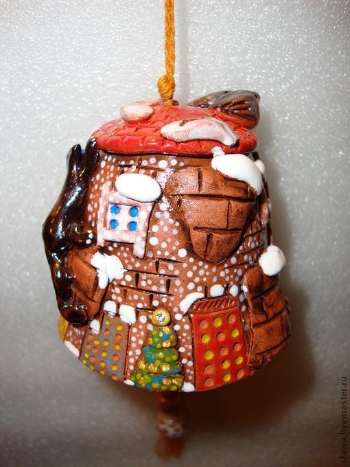 """Колокольчики ручной работы. Ярмарка Мастеров - ручная работа. Купить Колокольчик """"Зимний Домикольчик"""". Handmade. Белый, елка, глазури"""