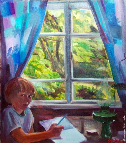 Картина. Абхазия. Сын. Дождь за окном работа Ольги Петровской-Петовраджи
