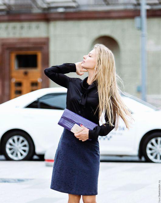 Юбки ручной работы. Ярмарка Мастеров - ручная работа. Купить Синяя юбка-трапеция. Handmade. Тёмно-синий, элегантная юбка