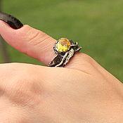 Украшения handmade. Livemaster - original item Yella ring with yellow cubic zirconia in 925 sterling silver IV0036. Handmade.