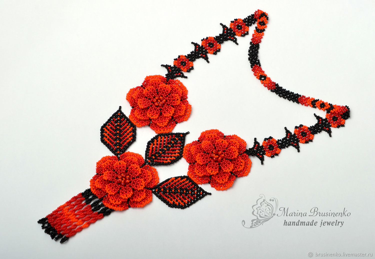 Decoration on the neck beaded Fire flowers, Necklace, Novosibirsk,  Фото №1