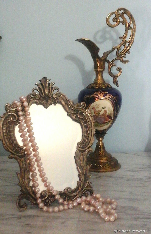 Vintage Vintage magic bronze table mirror, Vintage interior, ,  Фото №1