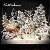 """Подарки к праздникам ручной работы. Ярмарка Мастеров - ручная работа Новогодняя композиция """"Рождественская сказка"""" интерьерная композиция. Handmade."""