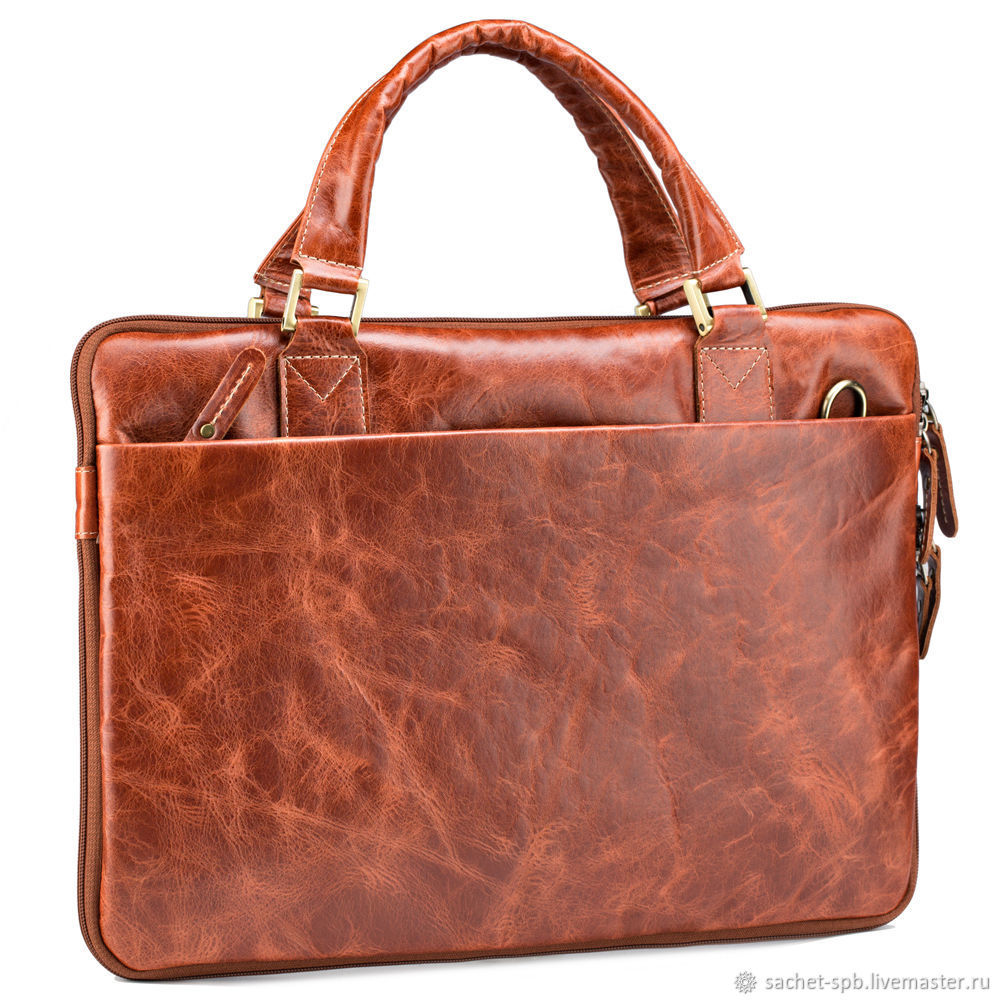 Leather business bag 'Ralph' (red antique), Classic Bag, St. Petersburg,  Фото №1