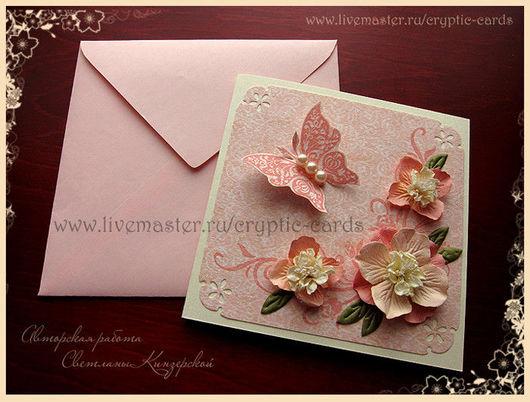 """Свадебные аксессуары ручной работы. Ярмарка Мастеров - ручная работа. Купить Приглашение на свадьбу """"Персиковые цветы"""" разные цвета. Handmade."""