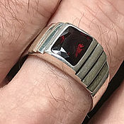 Украшения handmade. Livemaster - original item Men`s ring with natural red Spinel 3,16 ct 925 silver. Handmade.