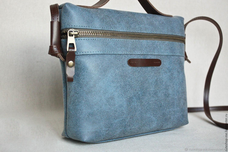 Маленькая сумка на плечевом ремне из эконубука