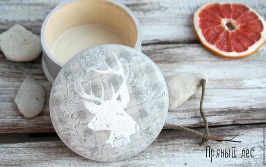 Круглая серая деревянная шкатулка декупаж с оленем, шкатулка для девушки, шкатулка для женщины, шкатулка в подарок, шкатулка подарок на 8 марта, шкатулка handmade, стильная шкатулка