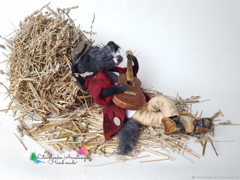 """Авторская игрушка из шерсти """"Волк с гитарой"""" – купить на ..."""