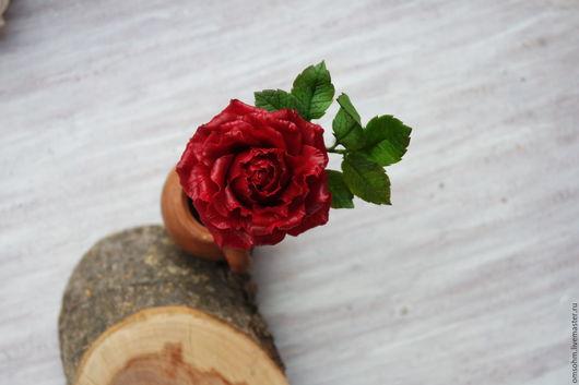 """Заколки ручной работы. Ярмарка Мастеров - ручная работа. Купить Шпилька """"Роза марсала большая"""". Handmade. Бордовый, шпилька роза"""