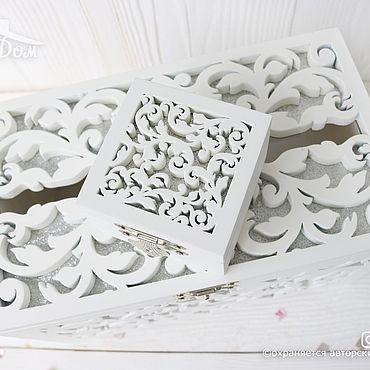 Свадебный салон ручной работы. Ярмарка Мастеров - ручная работа Деревянный свадебный сундучок и шкатулка для колец. Handmade.