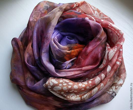 """Шали, палантины ручной работы. Ярмарка Мастеров - ручная работа. Купить Палантин """"Рубиновая рябина"""". Handmade. Цветочный, красный, бордо"""