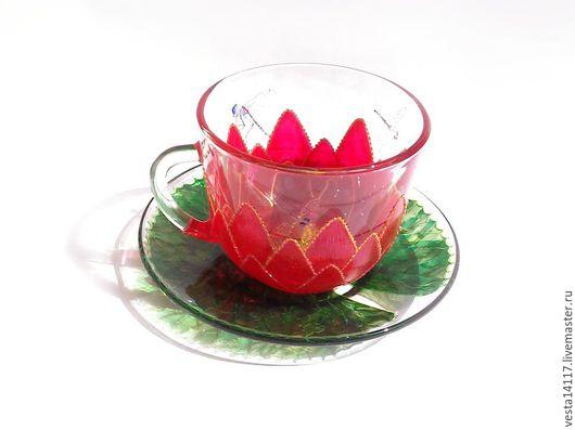 Сервизы, чайные пары ручной работы. Ярмарка Мастеров - ручная работа. Купить Чайная пара Кувшинка и стрекозы, стекло.. Handmade.