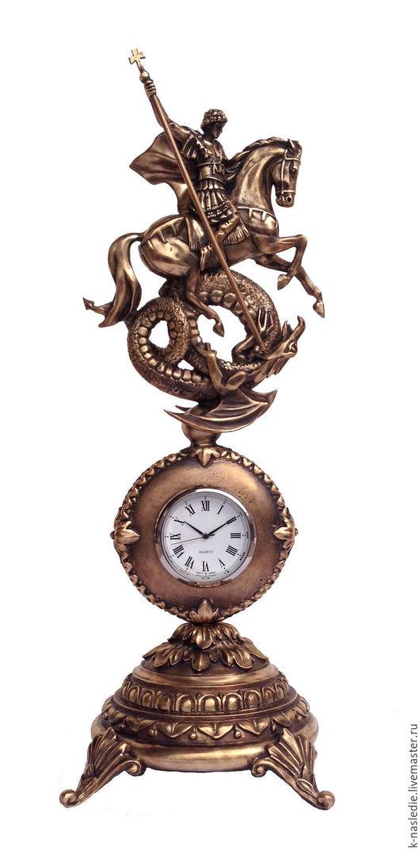 Персональные подарки ручной работы. Ярмарка Мастеров - ручная работа. Купить Часы настольные Георгий Победоносец (часы из бронзы) дорогой подарок. Handmade.