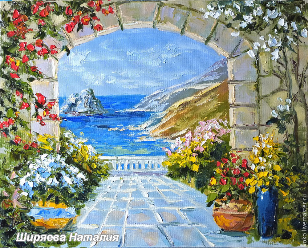 Painting with the sea 'dream of the Mediterranean' oil on canvas Mediterranean, Pictures, Voronezh,  Фото №1