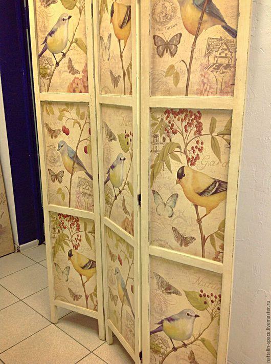 """Мебель ручной работы. Ярмарка Мастеров - ручная работа. Купить Ширма """" Птицы"""". Handmade. Комбинированный, потертый шик, прованс"""