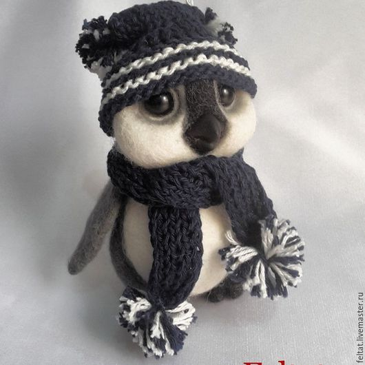 Игрушки животные, ручной работы. Ярмарка Мастеров - ручная работа. Купить Пингвинёнок Боря.. Handmade. Чёрно-белый, пингвиненок, Валяние