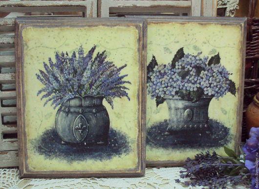 """Картины цветов ручной работы. Ярмарка Мастеров - ручная работа. Купить Комплект из двух панно """"Лаванда & Гортензия"""". Handmade."""