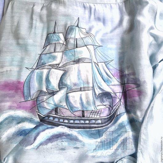 """Для мужчин, ручной работы. Ярмарка Мастеров - ручная работа. Купить Рубашка """"Морское приключение"""". Handmade. Однотонный, хлопок"""