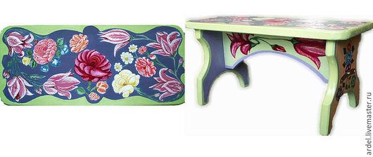 """Мебель ручной работы. Ярмарка Мастеров - ручная работа. Купить Деревянная скамья-подставка """"Тюльпаны"""". Handmade. Скамья, прикроватный столик"""