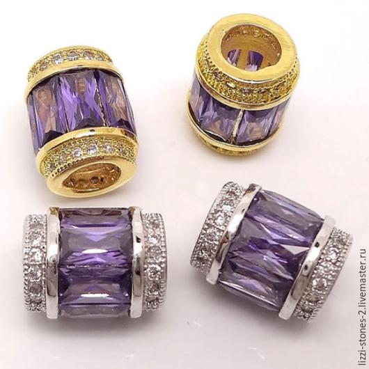 Бусина бочонок с сиреневыми кристаллами золото и серебро (Milano) Евгения (Lizzi-stones-2)