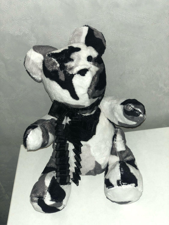 Плюшевый мишка черно-белой камуфляжной расцветки, Мягкие игрушки, Москва,  Фото №1