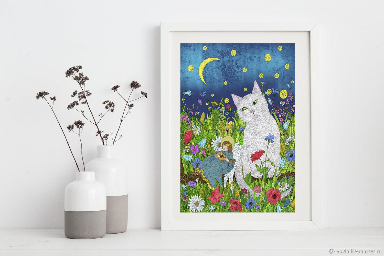 Постер для интерьера Тихая ночь Картина с котом, ангелом и цветами, Картины, Санкт-Петербург,  Фото №1