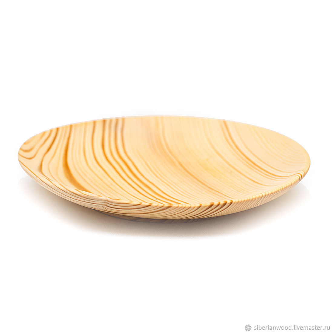 Большая плоская Деревянная Тарелка 20.5см 100% Сибирская Пихта #T62, Тарелки, Новокузнецк,  Фото №1