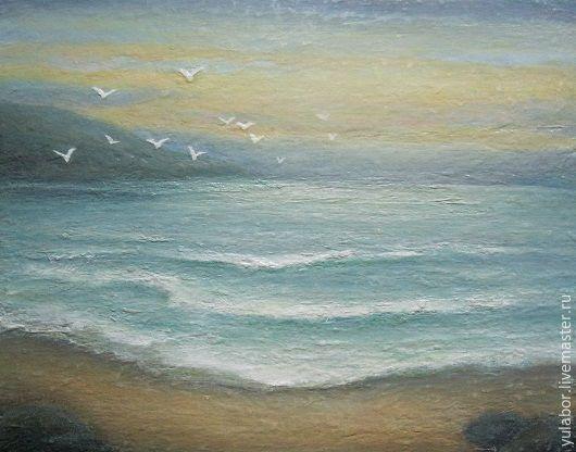 """Пейзаж ручной работы. Ярмарка Мастеров - ручная работа. Купить Морской пейзаж """"Шелест волн"""". Handmade. Голубой, волна, мастихин"""