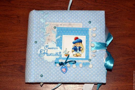 Детские аксессуары ручной работы. Ярмарка Мастеров - ручная работа. Купить альбом для мальчика от рождения до года. Handmade. Голубой