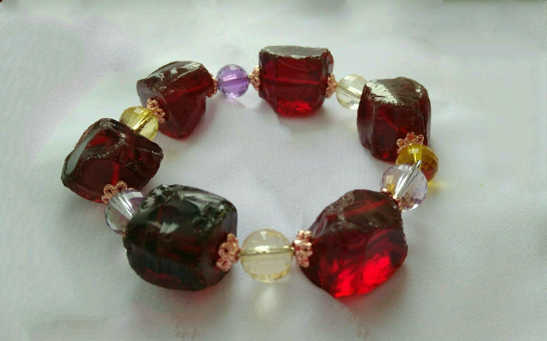 Bracelet with wine quartz, citrine and amethyst, Bead bracelet, Permian,  Фото №1